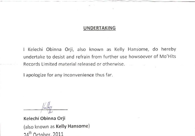 Kelly Hansome Undertaking Kelly Hansome Arrested; Signs Undertaking To MoHits Records