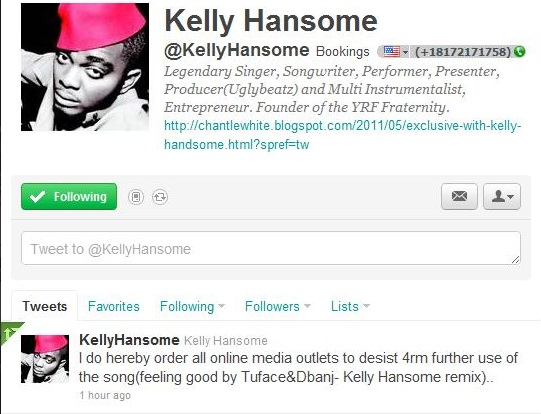 KellyTweetShot Kelly Hansome Arrested; Signs Undertaking To MoHits Records